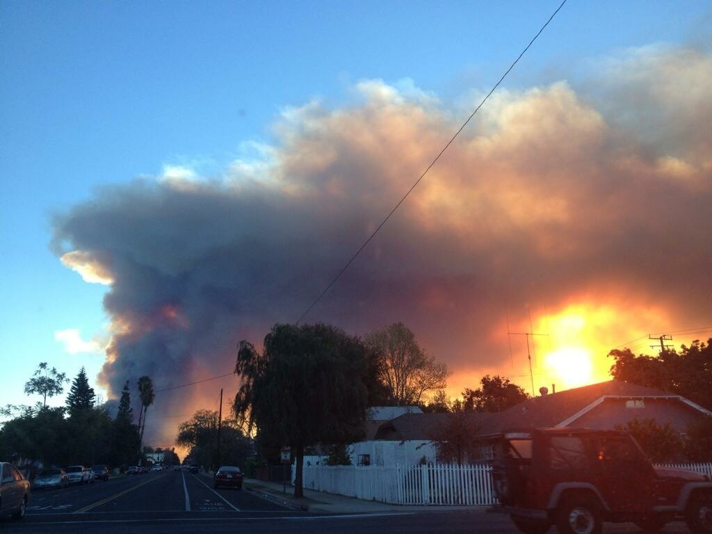 Photo of the Colby Fire taken from Monrovia.