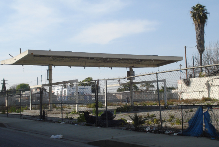 Abandoned gas stations like this one at Rosecrans in Compton often have abandoned storage tanks underneath.