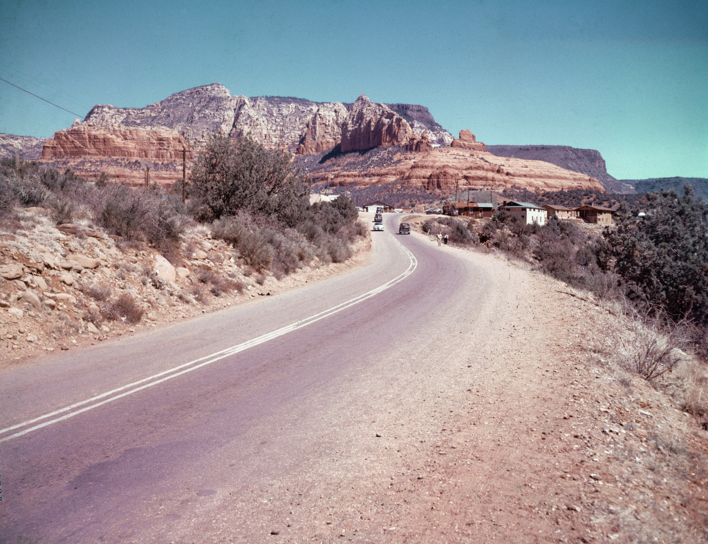A view of Route 66 in Arizona, circa 1960.