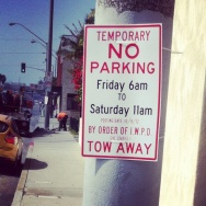 Inglewood shuttle Endeavour no parking sign