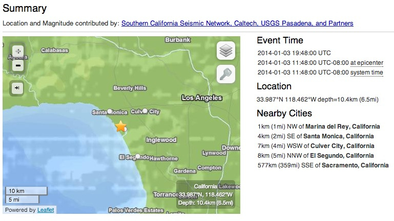 Earthquake report from Friday, Jan. 3, 2014.