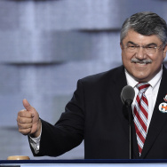 Richard Trumka, President of the AFL-CIO, gestures while speaking during Day 1 of the Democratic National Convention at the Wells Fargo Center in Philadelphia, Pennsylvania, July 25, 2016.