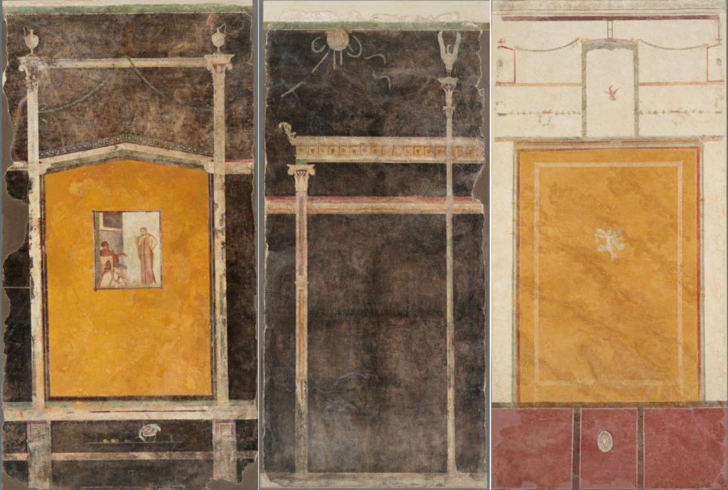 Three frescos excavated from a 1st century villa near Pompeii are on display for the first time ever at the Getty Villa.
