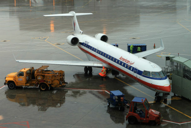 TORONTO, ON - NOVEMBER 29: An American Airline Plan sits on teh tarmac at Toronto Pearson Airport on November 29, 2011 in Toronto, Canada. American Airlines and its parent company AMR filed for Chapter 11 bankruptcy November 29, reportedly in an effort to shed debt and reduce labor costs.
