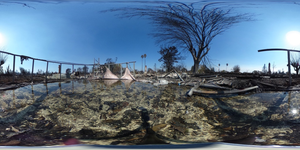 A 360-degree view of a home that was destroyed by the Tubbs Fire in the Coffey Park neighborhood of Santa Rosa, California on October 12, 2017.