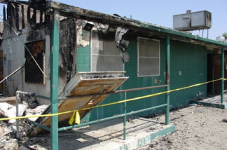 Building damaged Aug. 8, 2009 during prisoner riot at the California Institution for Men in Chino, Calif.