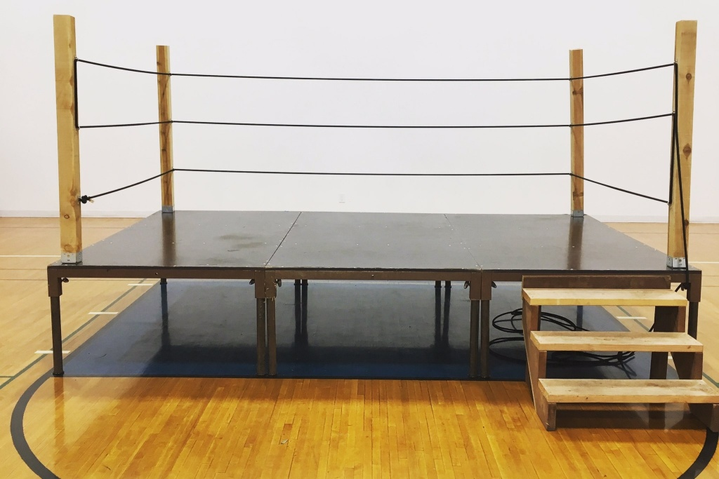 The wrestling ring stage from the Comedy 'N Wrestling Connection comedy show.