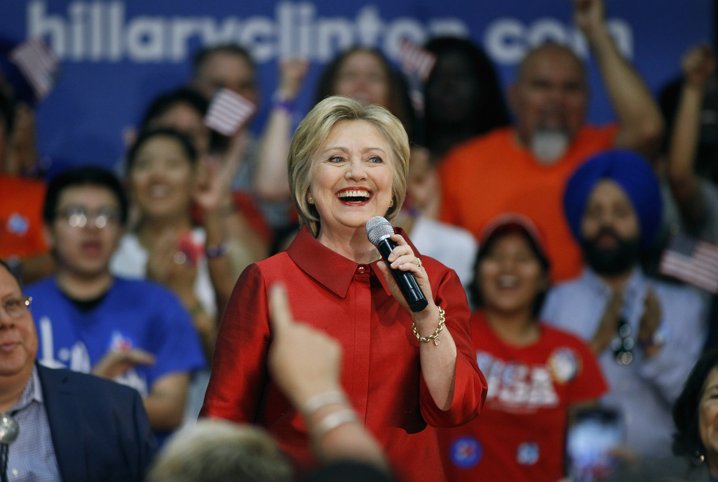Democratic presidential candidate former Secretary of State Hillary Clinton speaks during the Get Out the Vote campaign event at Carl Hayden High School on March 21, 2016 in Phoenix, Arizona.