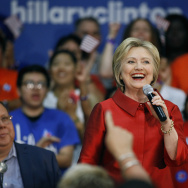PHOENIX, AZ - MARCH 21:  Democratic presidential candidate former Secretary of State Hillary Clinton speaks during the Get Out the Vote campaign event at Carl Hayden High School on March 21, 2016 in Phoenix, Arizona.  Clinton is in Phoenix campaigning one day before the Arizona Primary. (Photo by Ralph Freso/Getty Images)