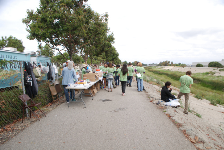 This file photo shows volunteers gathering to clean up the LA River. The Friends of the LA River have been doing this for 27 years, and Saturday marked the first weekend of this year's cleanup.