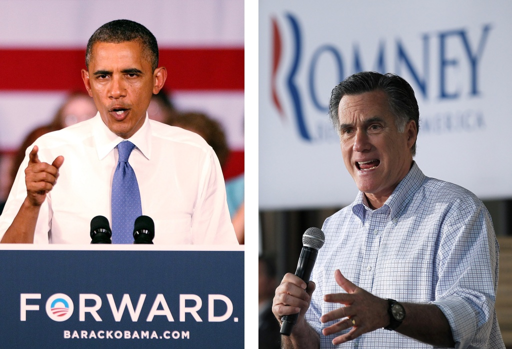 (FILE PHOTO) In this composite image a comparison has been made between US Presidential Candidates Barack Obama (L) and Mitt Romney. The November 6, 2012 elections will decide between Obama and Romney who will win to become the next President of the United States. ***LEFT IMAGE*** WEST PALM BEACH, FL - JULY 19: U.S. President Barack Obama delivers remarks to seniors at Century Village on July 19, 2012 in West Palm Beach, Florida. Obama is campaigning for two days in Florida, a crucial swing state in November's presidential election.  ***RIGHT IMAGE*** GREEN BAY, WI - APRIL 02: Republican Presidential candidate, former Massachusetts Gov. Mitt Romney speaks during a town hall style meeting at Wisconsin Building Supply on April 2, 2012 in Green Bay, Wisconsin. With one day to go before the Wisconsin primary, Mitt Romney makes a final push through the state.
