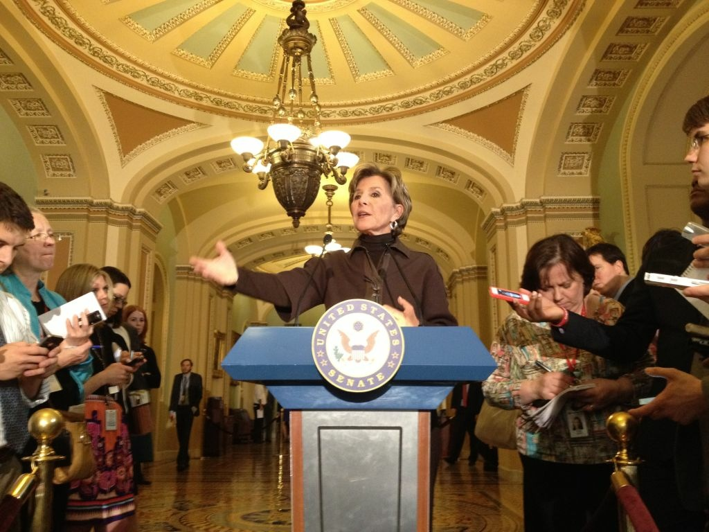 California Sen. Barbara Boxer speaks to reporters after the Senate passed the transportation bill.