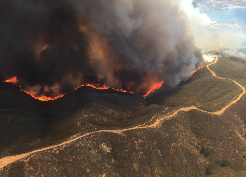 Lake Fire near Castaic Lake in Southern California