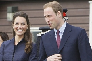 Kate Middleton and Prince William in Darwen, north-west England. Their wedding begins at 3am Pacific Time, Friday.