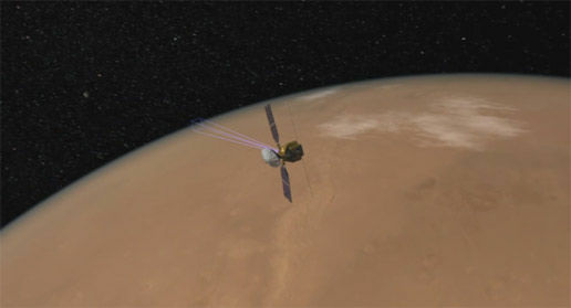 This artist's animation of the NASA Mars Reconnaissance Orbiter.