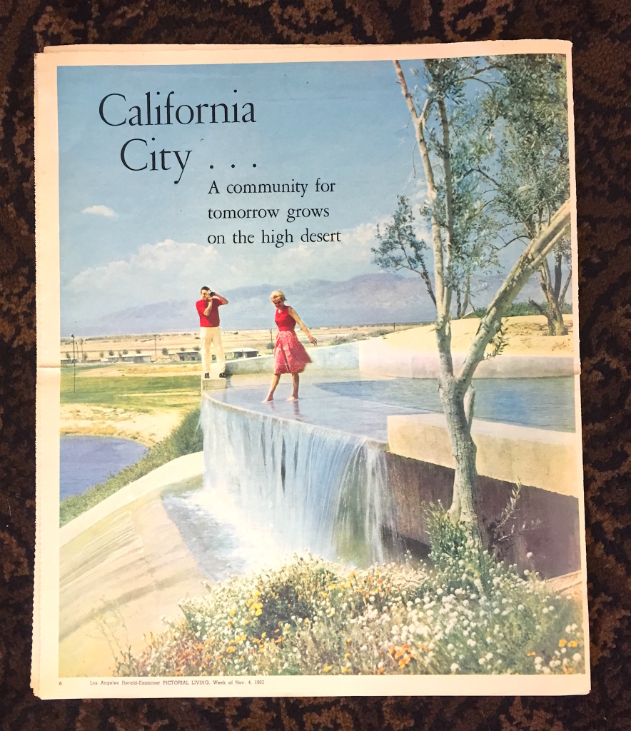 A 1962 advertisement for California City from the Los Angeles Herald Examiner highlights the city's abundant water supplies, despite being in the Mojave Desert.