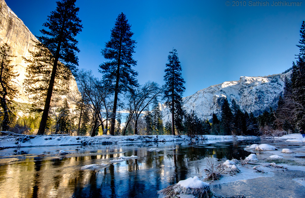 Snow and water in the Sierra Nevada Mountains.