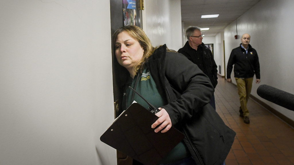 Jaclyn Schildkraut, associate professor of Criminal Justice at SUNY Oswego, leads a lockdown drill at Ed Smith Elementary School in Syracuse, N.Y., last month.