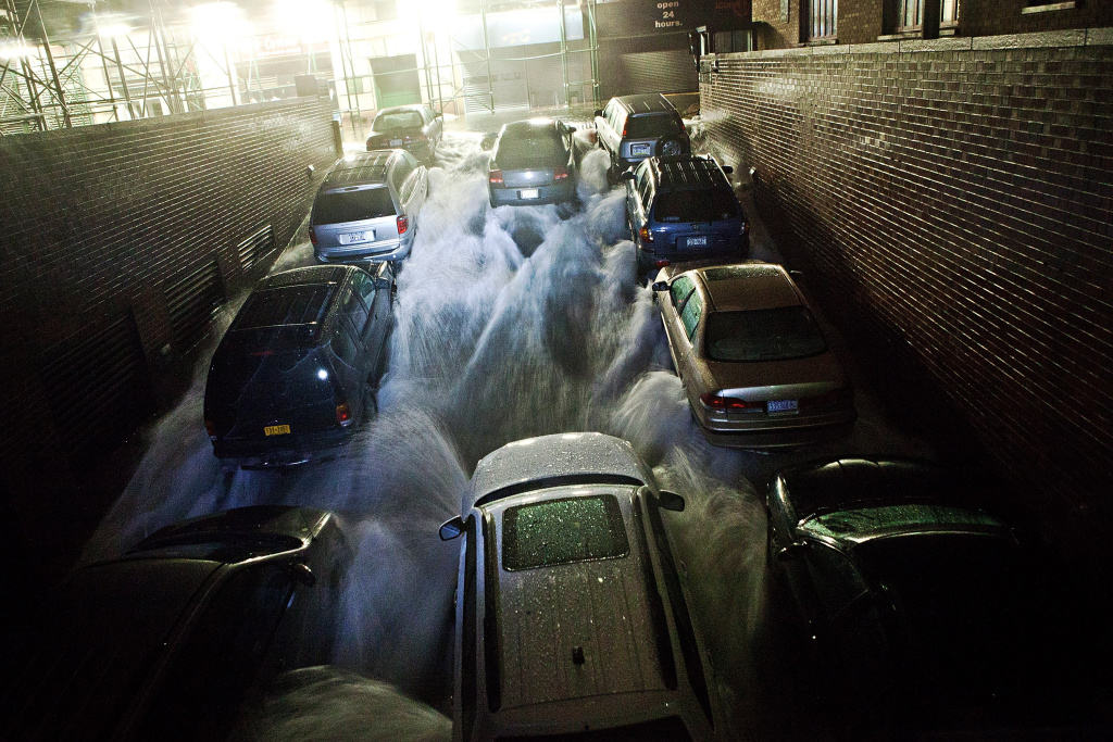 Rising water, caused by Hurricane Sandy,  rushes into a subterranian parking garage on October 29, 2012, in the Financial District of New York, United States. Hurricane Sandy, which threatens 50 million people in the eastern third of the U.S., is expected to bring days of rain, high winds and possibly heavy snow. New York Governor Andrew Cuomo announced the closure of all New York City will bus, subway and commuter rail service as of Sunday evening.