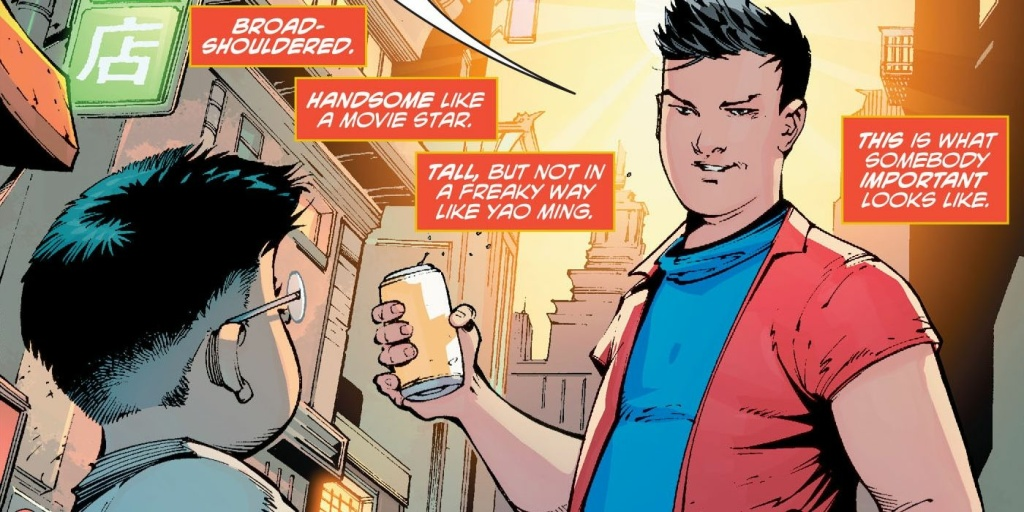 "A panel from ""New Super-Man #1,"" showing the chip on Kenan Kong's shoulder."