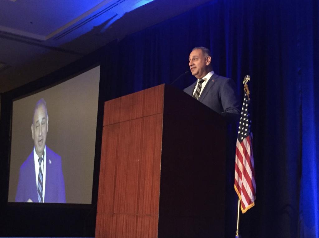 Democratic Congressman Gil Cisneros speaks at the Orange County Democratic Party's Truman Awards Dinner in Anaheim on Saturday, Sept. 28, 2019.