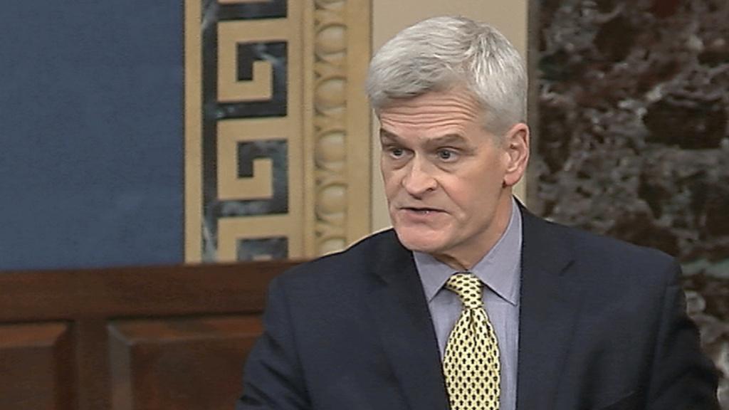 Sen. Bill Cassidy, R-La., seen here March 24 on the Senate floor, says underlying health issues impact coronavirus-related disparities.