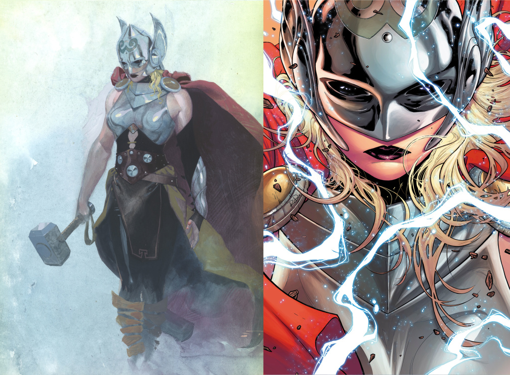 The new female Thor, drawn by Esad Ribic and new series artist Russell Dauterman.