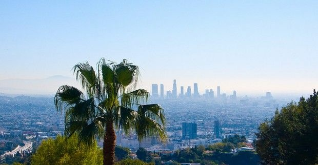 The Los Angeles skyline from the top of Runyon Canyon Park in Hollywood.
