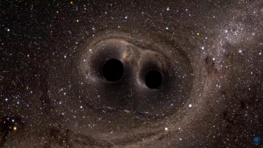 A computer simulation shows the collision of two black holes, a tremendously powerful event detected for the first time ever by the Laser Interferometer Gravitational-Wave Observatory, or LIGO. LIGO detected gravitational waves, or ripples in space and time generated as the black holes spiraled in toward each other, collided, and merged. This simulation shows how the merger would appear to our eyes if we could somehow travel in a spaceship for a closer look. It was created by solving equations from Albert Einstein's general theory of relativity using the LIGO data.