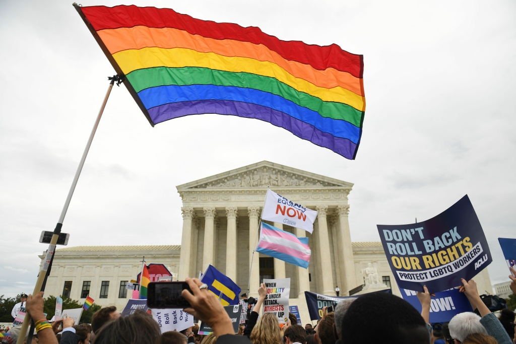 Demonstrators in favour of LGBT rights rally outside the US Supreme Court in Washington, DC, October 8, 2019.
