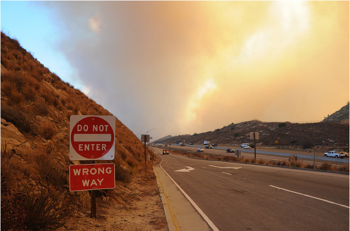Sesnon Fire 2008: Photo from Santa Susana Pass looking west from the Rocky Peak exit of the 118 Freeway (October 13, 2008)