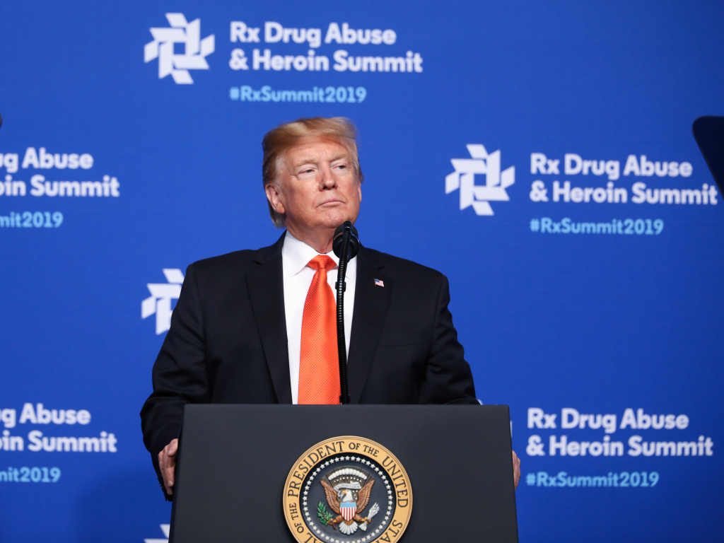 President Donald Trump speaks at the Rx Drug Abuse & Heroin Summit on April 24, 2019 in Atlanta. President Trump declared the opioid crisis a public health emergency.