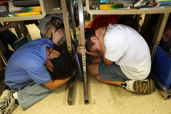 Students practiced the ''drop, cover and hold on' exercise during the Great Southern California ShakeOut in 2008