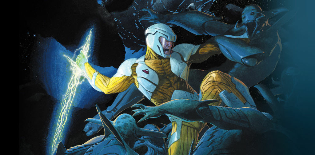 Valiant comic book character X-O Manowar, part of the relaunched Valiant Comics.