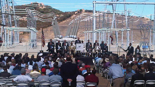 The Sunrise Powerlink began operating in June and was dedicated in a ceremony with Gov. Jerry Brown on Thursday.