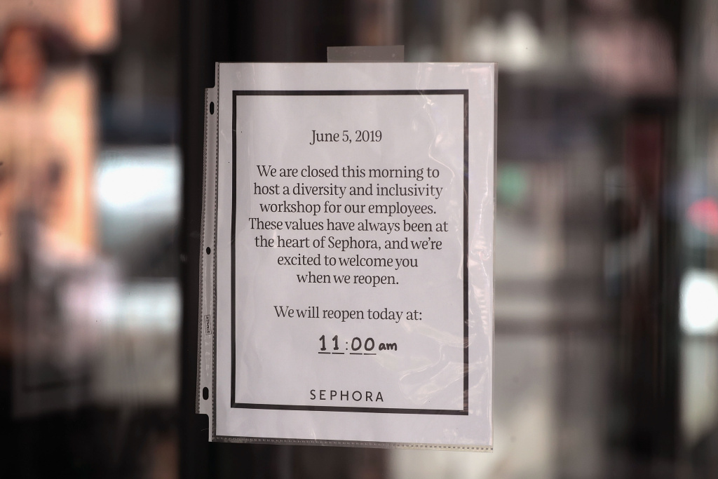 A sign announcing the store was closed hangs on the door of a Sephora store on June 05, 2019 in Chicago, Illinois.  Sephora closed all of its stores for employees across the country to undergo diversity training following an incident where singer SZA said she was profiled at a California Sephora store.