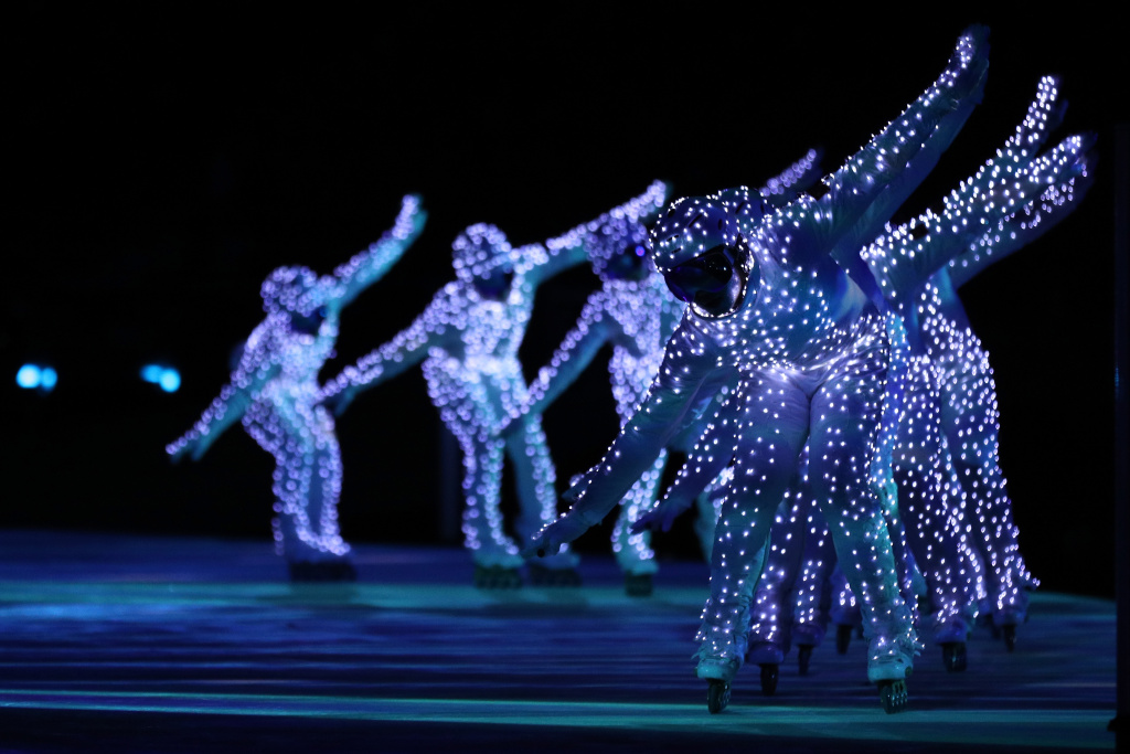 Entertainers perform during the Closing Ceremony of the Pyeongchang 2018 Winter Olympic Games on February 25, 2018 in Pyeongchang, South Korea.