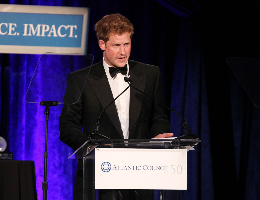 Prince Harry of England speaks after receiving the Distinguished Humanitarian Leadership Award at the Atlantic Council's Annual Awards Dinner Honoring HRH Prince Harry at Ritz Carlton Hotel on May 7, 2012 in Washington, DC.