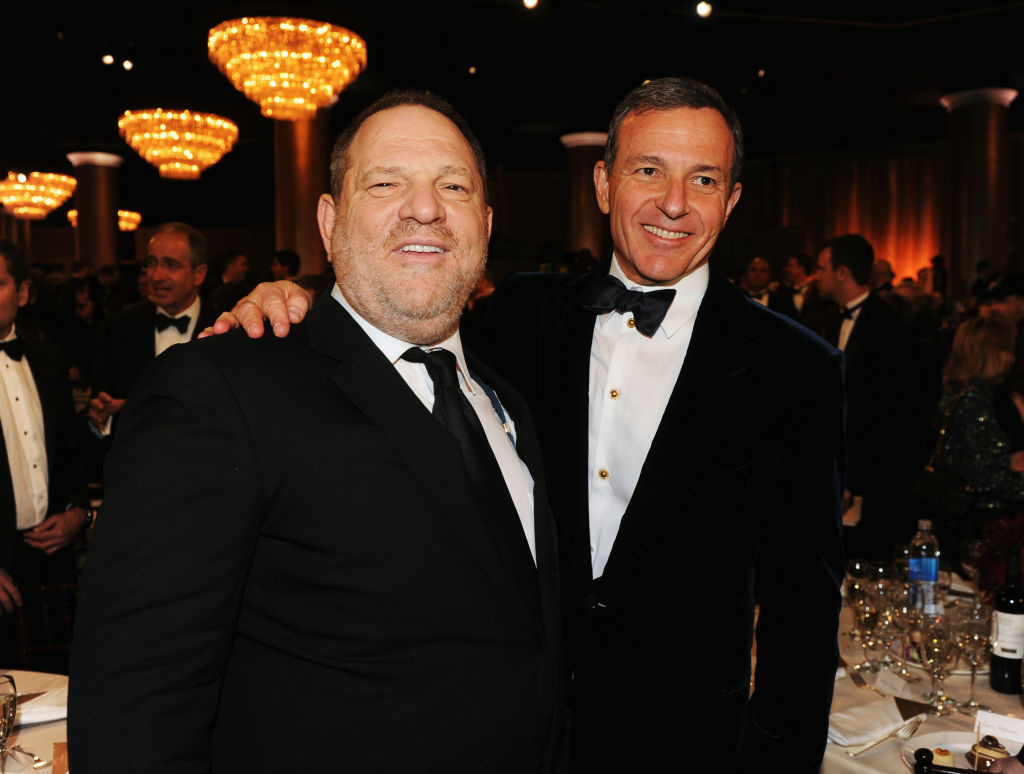 Walt Disney Company Chairman/CEO Robert Iger and producer Harvey Weinstein at the 70th Annual Golden Globe Awards Cocktail Party. Iger is not the guy on the left.