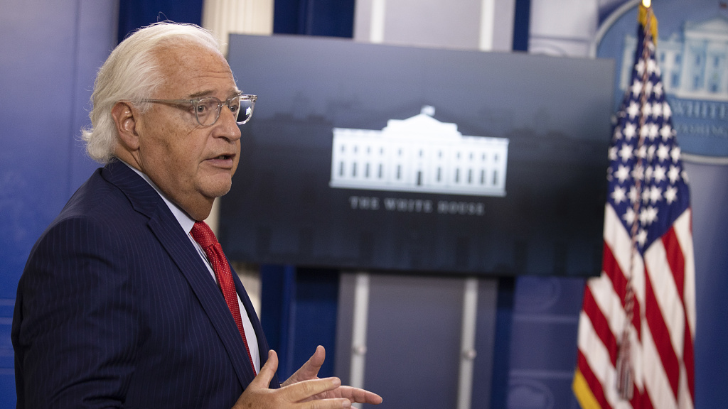 U.S. Ambassador to Israel David Friedman speaks during a briefing at the White House on Thursday.