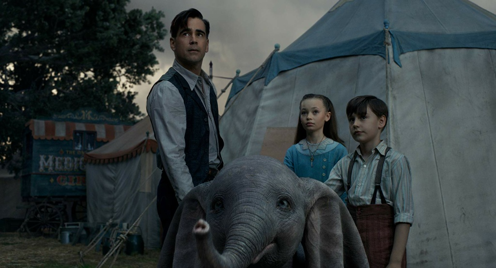 Colin Farrell, Nico Parker, and Finley Hobbins in Walt Disney Pictures'