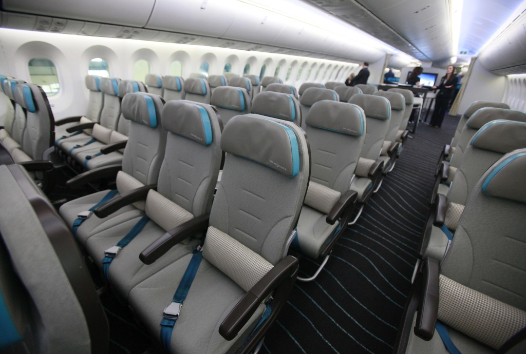 A picture shows the economy seating of the new Boeing 787 Dreamliner passenger jet at the Dublin International airport in Dublin, Ireland on January 26, 2012.
