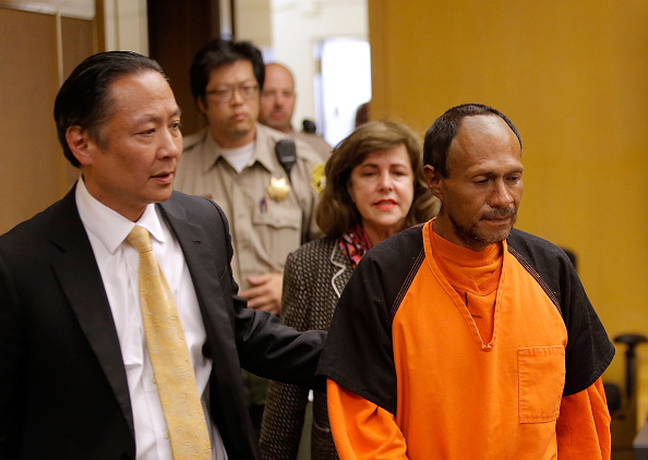 SAN FRANCISCO, CA - JULY 07:  Jose Ines Garcia Zarate (R) enters court for an arraignment with San Francisco public defender Jeff Adachi (L) on July 7, 2015 in San Francisco, California. Garcia Zarate pleaded not guilty to charges that he shot and killed 32 year-old Kathryn Steinle as she walked on Pier 14 in San Francisco with her father last week. (Photo by Michael Macor-Pool/Getty Images)