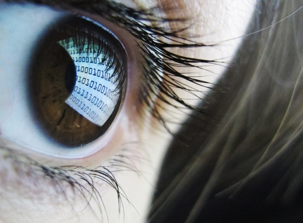 A pictures shows binary code reflected from a computer screen in a woman's eye on October 22, 2012.