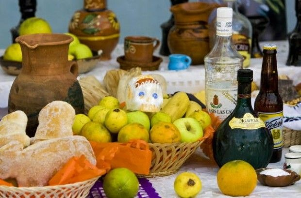 Ofrendas of food and beverages on an altar in Mexico City in preparation for Day of the Dead, October 31, 2008