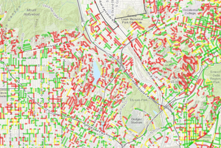 The Los Angeles Bureau of Street Services keeps a map of street conditions in LA. Green streets are considered