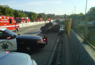 A fiery crash on the 110 Freeway left an infant dead Friday night.