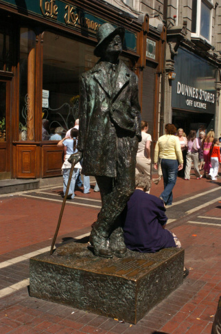 A statue of Irishman James Joyce, author
