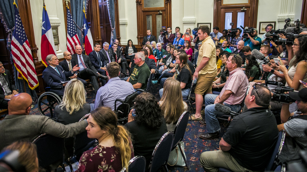 Texas Gov. Greg Abbott is laying out his plan to make schools safer on Wednesday. Here, Abbott hosts a recent roundtable discussion with victims, family, and friends affected by the Santa Fe, Texas, school shooting that killed at least 10 people earlier this month. People with ties to other recent mass shootings were also invited.