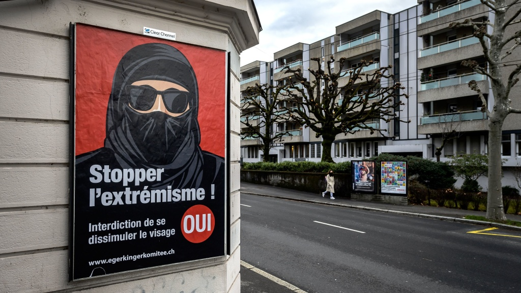 A poster in Lausanne, Switzerland, reads